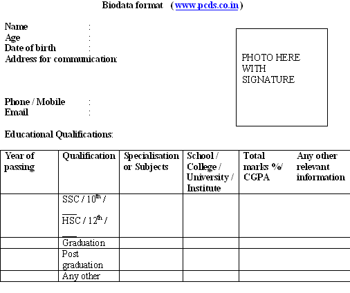 Biodata Format Download for new resume sample Freshers – Performa of Resume
